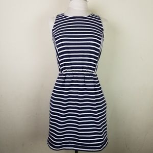LOFT Navy and Blue  striped dress